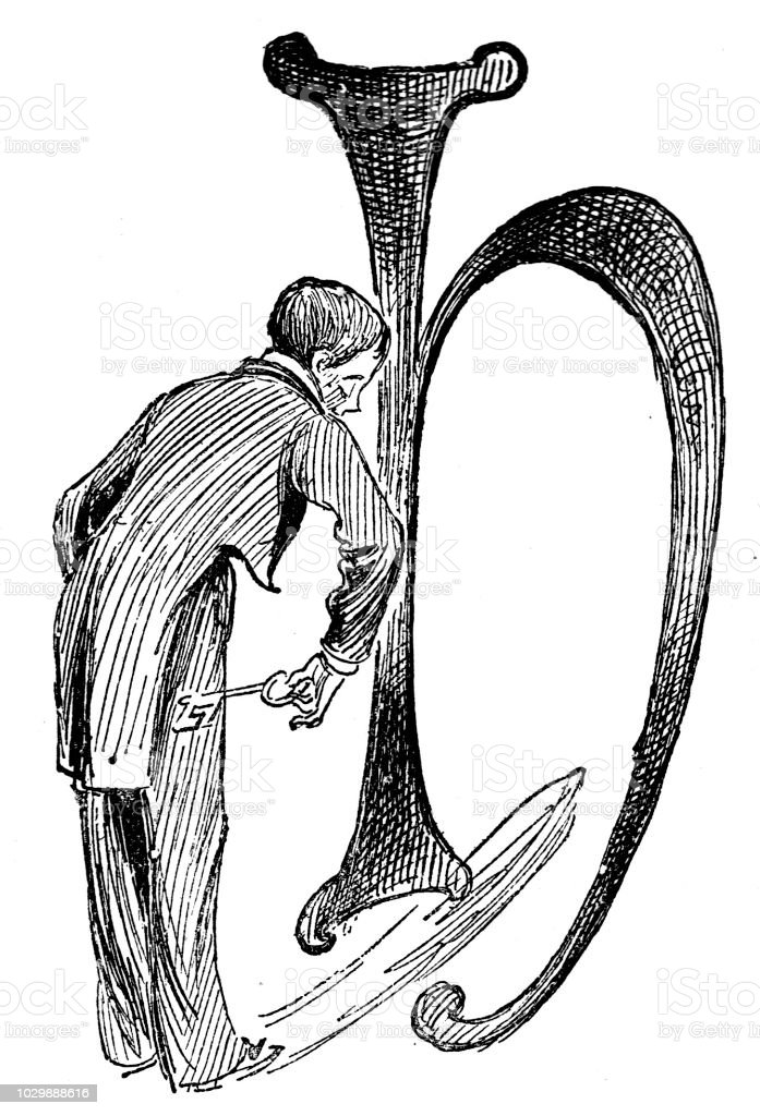 Victorian black and whiteDropped initial capital H with a young man in tails; Boys Own Paper 1892 vector art illustration