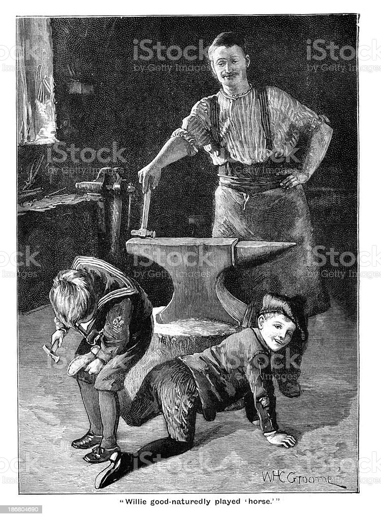 Victorian Blacksmith Farriers royalty-free victorian blacksmith farriers stock vector art & more images of 19th century