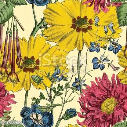 istock Victorian Botanical, Hand-Colored, Seamless Repeating pattern. Realistic blooming isolated flowers Vintage fabric background. Beautiful Cottage Garden and wildflowers. Wallpaper baroque. Drawing engraving. Victorian Illustration. 1217222870