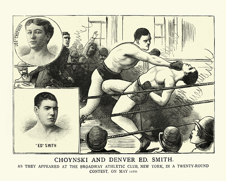 Vintage illustration of Victorian boxing bout, Joe Choynski vs Denver Ed Smith, Broadway Athletic Club, Brooklyn, New York, over 20 rounds, May 10th 1897, 19th Century.  Match was won by Choynski