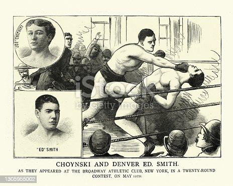 istock Victorian boxing bout, Joe Choynski vs Denver Ed Smith, New York, Boxers punching 1305955002
