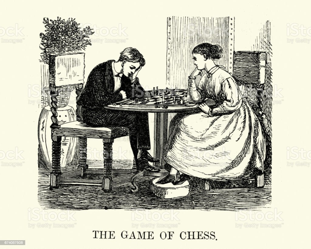 Victorian boy and girl playing a game of chess royalty-free victorian boy and girl playing a game of chess stock vector art & more images of 1880-1889