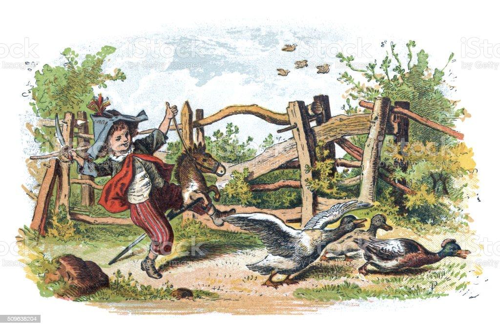 Victorian boy riding his hobby horse vector art illustration