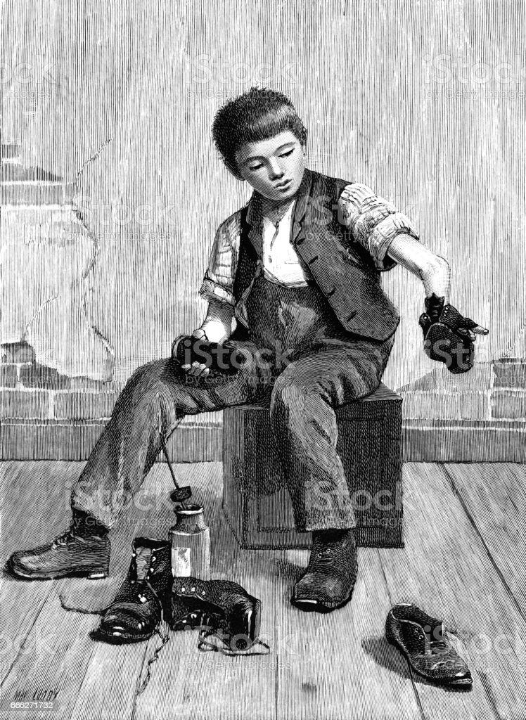 Victorian boy shining shoes vector art illustration