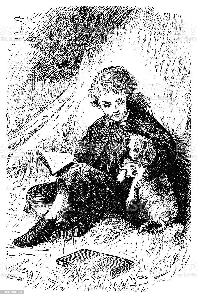 Victorian boy with school books and a dog vector art illustration