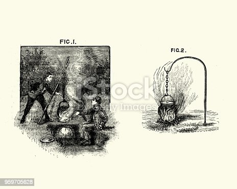 Vintage engraving of Victorian boys cooking on a campfire, 19th Century
