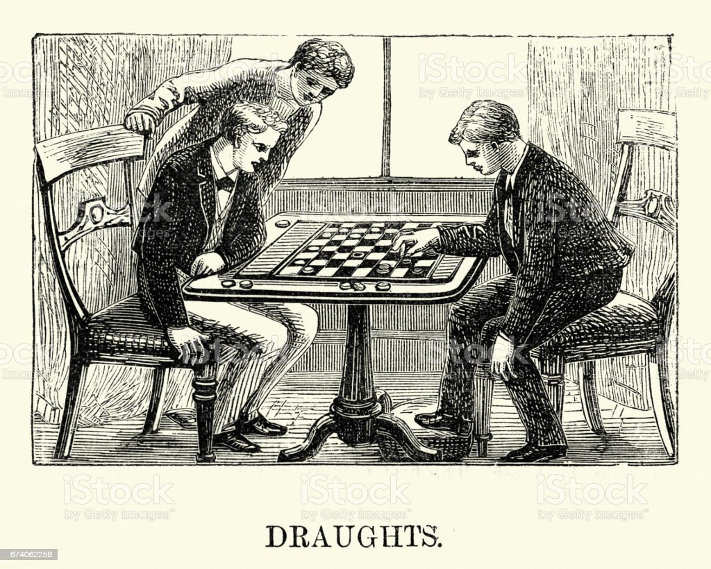Victorian boys playing a game of  Draughts or checkers royalty-free victorian boys playing a game of draughts or checkers stock vector art & more images of 1880-1889