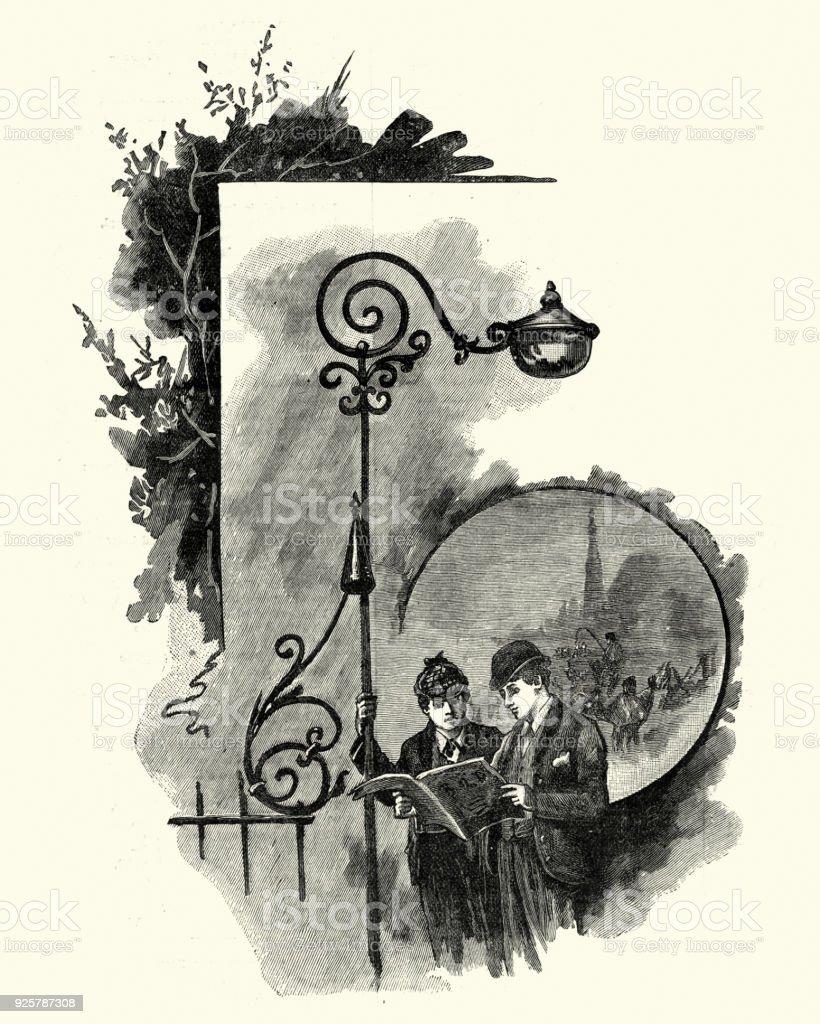 Victorian boys reading a newspaper magazine, 19th Century vector art illustration