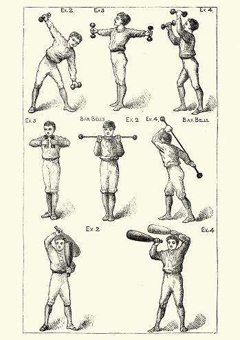 Vintage engraving of Victorian boys working out with dumbbells and weights, 19th Century