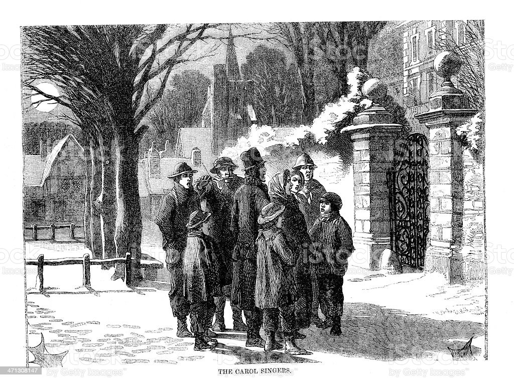 Victorian Carol singers in street Engraving from 1864 magazine vector art illustration