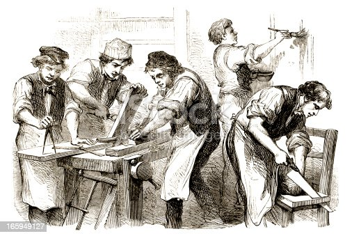 A group of Victorian carpenters at work. From 'The British Workman', a newspaper aimed at 'The British Workman and Friend of the Sons of Toil' with the aim of promoting 'the health, wealth and happiness of the working classes'. It was published from 1855-1892 by Messrs. Partridge & Co, A.W. Bennett and W. Tweedie, of London.