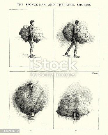 istock Victorian cartoon about Apirl Showers 669247612