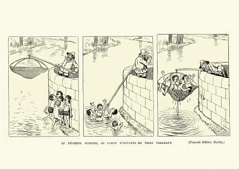 Vintage illustration Victorian cartoon, 19th Century. Le pecheur surpris, ou farce d'enfants en trois tableaux, The surprised fisherman, or children's farce in three tableaux