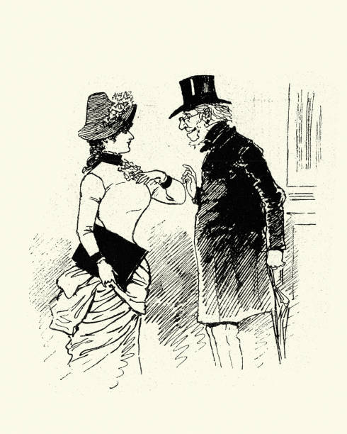 victorian cartoon of old man propositioning a young woman, 1880s - old man flipping the bird cartoons stock illustrations, clip art, cartoons, & icons