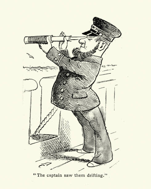 Victorian cartoon of ships captain looking through a telescope vector art illustration