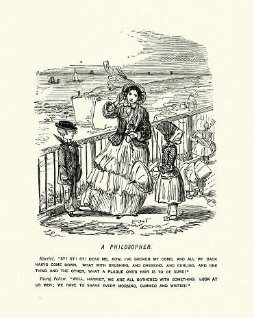 Victorian cartoon, philosophical discussion on hair care between the sexes