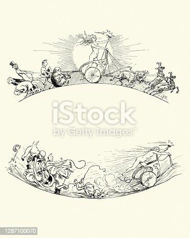 istock Victorian cartoon, Tryig to stop the sun chariot, goddess, 19th Century 1287100070