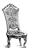 """""""Antique engraving of richly decorated chair, isolated on white background. Very high XXXL resolution image scanned at 600 dpi. Published in Illustrated Catalog of the Universal Exhibition (London, 1851). Photo by N.Staykov (2009)CLICK ON THUMBNAILS BELOW FOR MORE IMAGES LIKE THIS ONE:"""""""