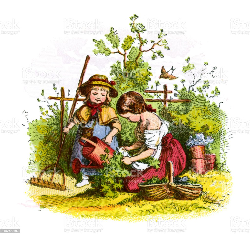 Victorian Children Gardening Stock Vector Art Amp More