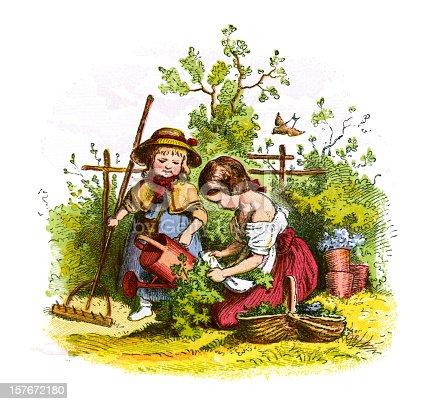 Victorian Children Gardening Stock Vector Art & More ...
