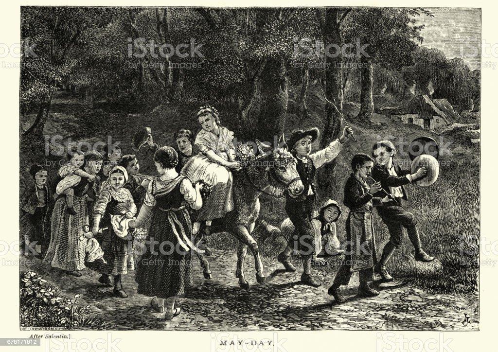 Niños victorianos en una procesión de día de mayo, siglo XIX - ilustración de arte vectorial