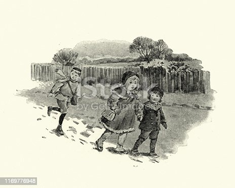 Vintage engraving of Victorian children walking through the snow. Victorian Storybook illustration, 19th Century.
