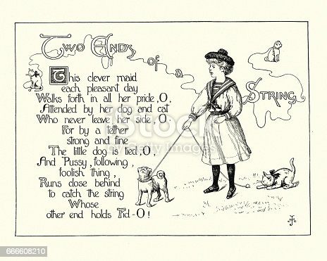 Vintage engraving of a Victorian childrens poem - Two ends of a string. Young girl walking her pet dog and cat