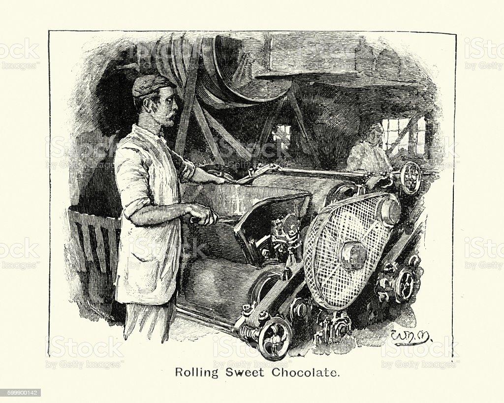Victorian Chocolatier rolling sweet chocolate. 1894 vector art illustration