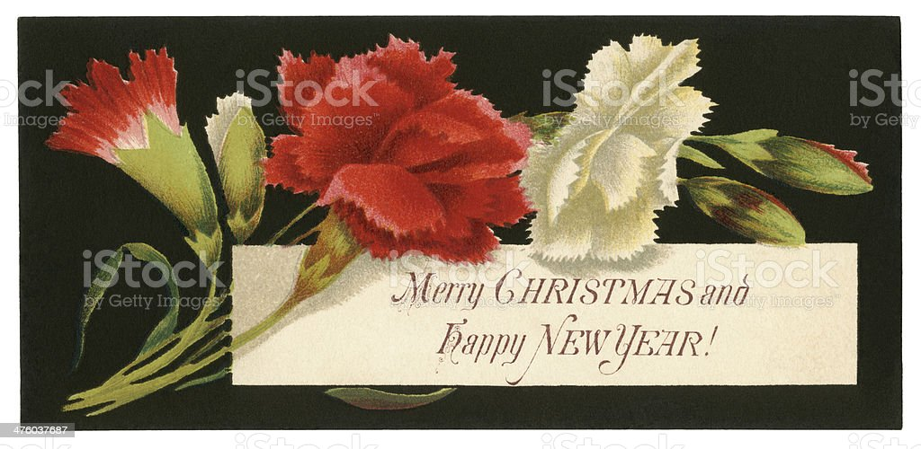 Victorian Christmas and New Year Greeting Card royalty-free stock vector art