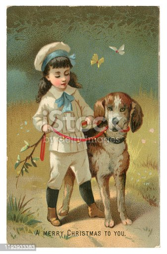 A cute Victorian Christmas card showing a young boy wearing a knickerbocker suit out walking with his dog. Butterflies flutter past on a sunny day - obviously not in December! The dog is wearing a red lead which is decorated with bells.