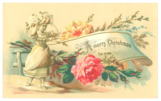 A Victorian Christmas card from 1878 showing a young girl, flowers and a festive message on a scroll.