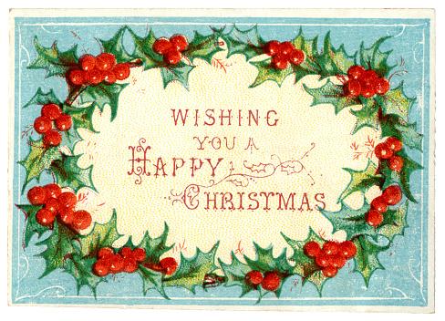 Victorian Christmas card with holly wreath, 1875
