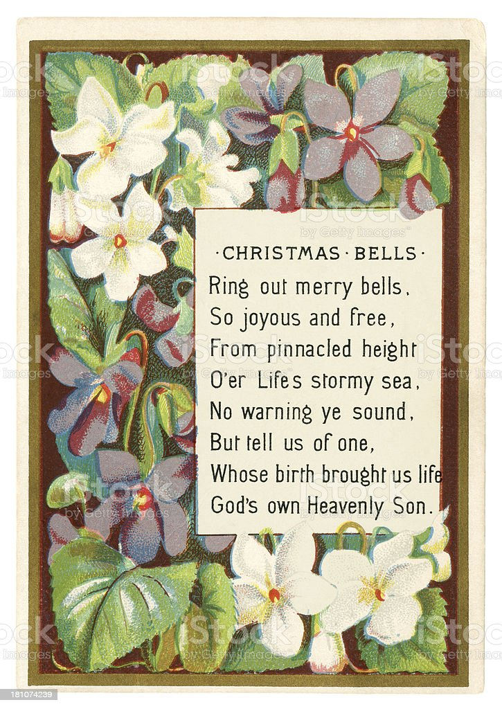 Victorian Christmas card with violets, 1876 royalty-free stock vector art