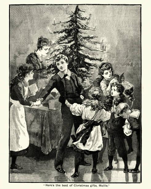 bildbanksillustrationer, clip art samt tecknat material och ikoner med viktorianska julen, barn som ger gåvor runt trädet, 19th century - christmas gift family