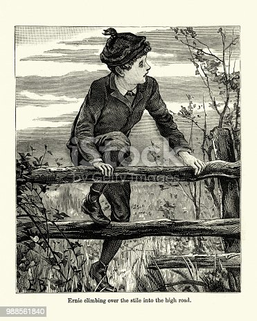 Vintage engraving of a victorian climbing over a fence while wlaking in the countryside. 19th Century