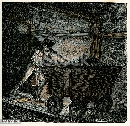 Victorian vintage engraving of a 19th century coal miner pushing coal in a minecart. The minecart or mine cart (also known as a mine trolley) is a type of rolling stock found on a mine railway, used for moving ore and materials procured in the process of traditional mining.  France, 1875