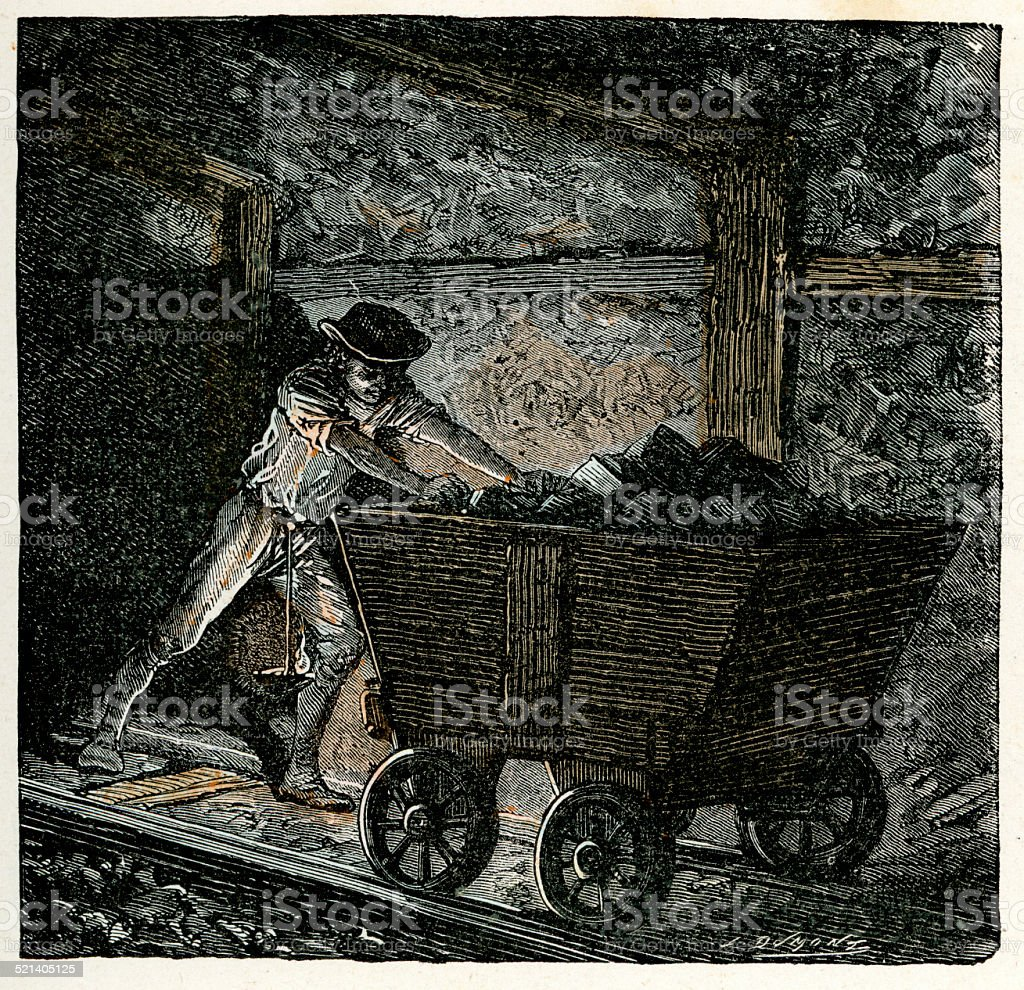 Victorian coal miner pushing a minecart vector art illustration