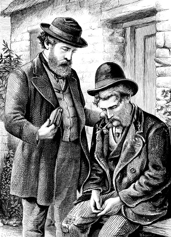 Victorian comforting a miserable man