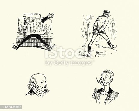 Vintage engraving of Victorian comic sketches, Reading newspaper, man walking, big moustache,  Sketch 19th Century