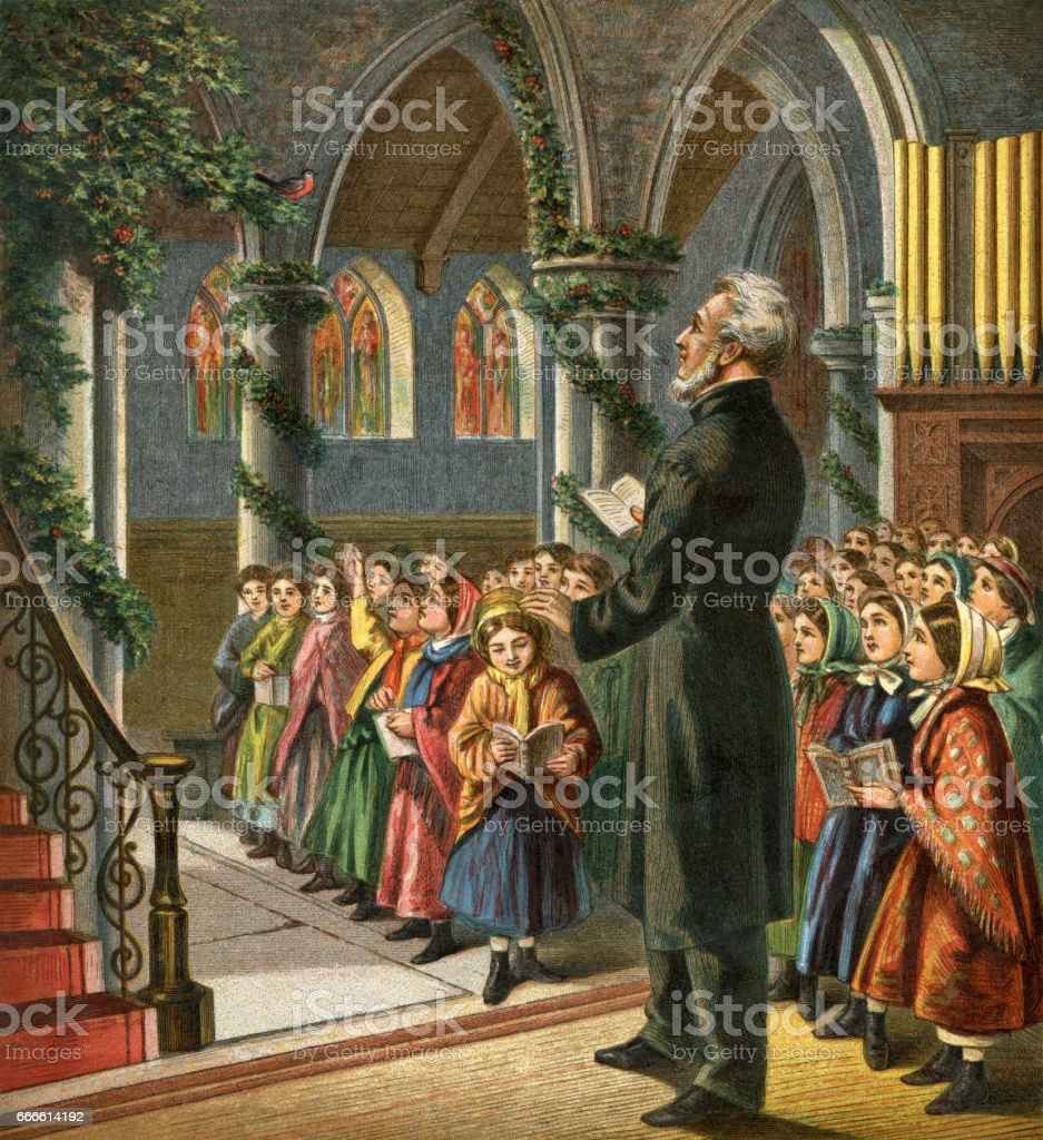 Victorian congregation singing Christmas carols in church vector art illustration