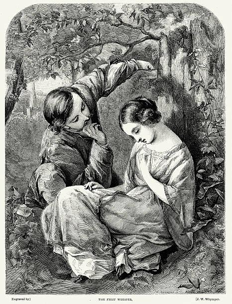 Victorian Couple flirter-Le premier touche - Illustration vectorielle