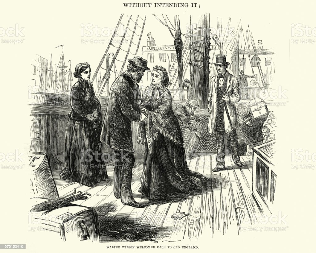 victorian couple greeting each other on deck of a ship stock