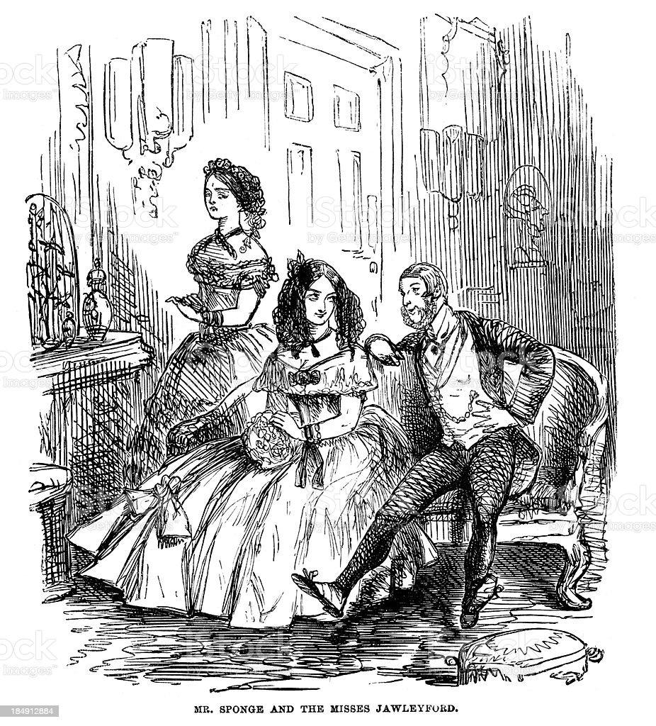Victorian Couple vector art illustration