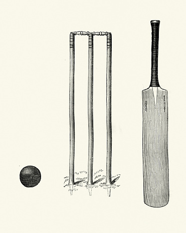 Victorian cricket bat ball and wicket 19th Century