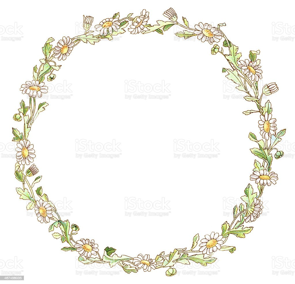 Victorian daisy border vector art illustration