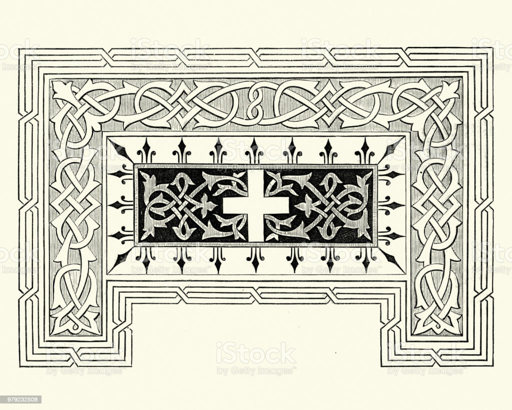 Ilustración de Decoración Victoriana Cruz Y Tejer Patrón Década De ...