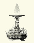 Vintage engraving of Victorian decor, Fountain, 1850s, 19th Century.  Dubos and Soulas