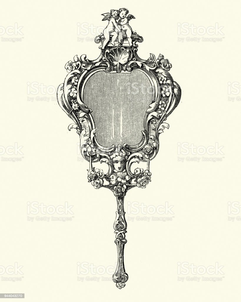 Ornate hand mirror drawing Mirror Clipart Free Victorian Decor Hand Mirror 1850s Royaltyfree Victorian Decor Hand Mirror 1850s Stock Istock Victorian Decor Hand Mirror 1850s Stock Vector Art More Images Of