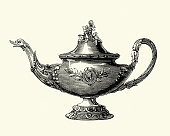 Vintage engraving of Victorian decor, Tea pot, 1850s, 19th Century.  Elington and co of London and Birmingham