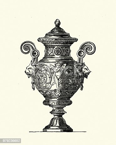 Vintage engraving of Victorian decor, Vase or Urn, 1850s, 19th Century, Bezat and Co